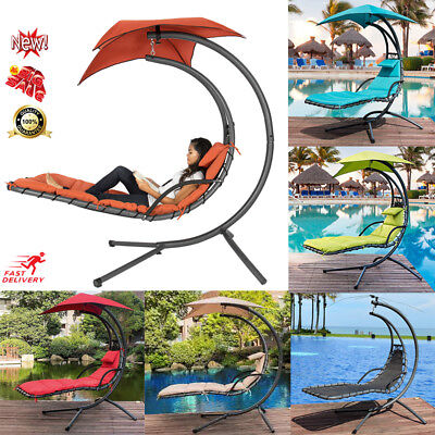 Hanging Chaise Lounger Chair Arc Stand Air Porch Swing Hammock Chair W/Canopy