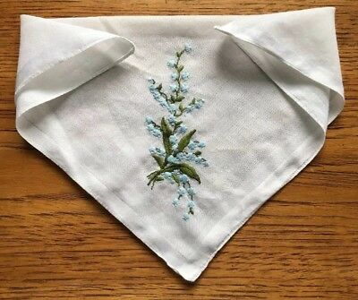 Vintage Handkerchief Embroidered Lily Of The Valley Ladies Hankie Hanky