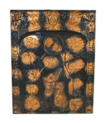 Oxidized Copper Plated Stamped Ornamental Steel Fireplace Summer Cover