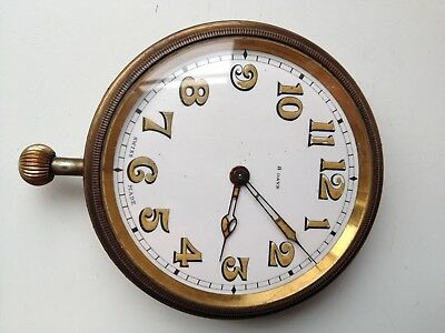 VINTAGE SWISS 8-DAY MANUAL WIND 60mm CAR CLOCK SELLING FOR PARTS SPARES REPAIRS