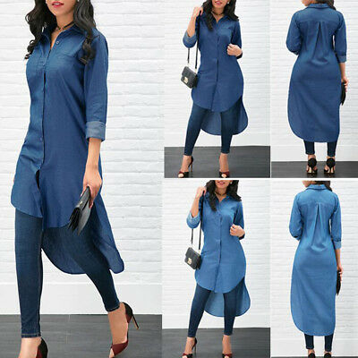 Sexy Women Blue Denim Jeans Long Dress Summer Casual Club Party Loose V-neck New