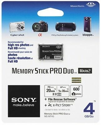 Genuine Sony 4gb Memory Stick Pro Duo Card, Retail Pack