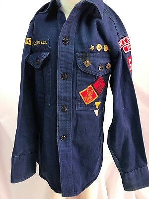 Vintage Cub Scouts of America Long-Sleeved Shirt w/ Pins and Patches, Fits M