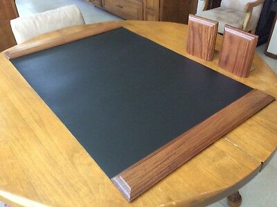 Black Leather Desk Set with Mahogany Trim and Mahogany And Brass Bookends