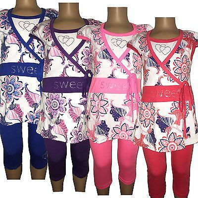 New Girls Tunic Floral Dress Top Leggings 2 Piece Set Summer Outfit 2-10yrs #220
