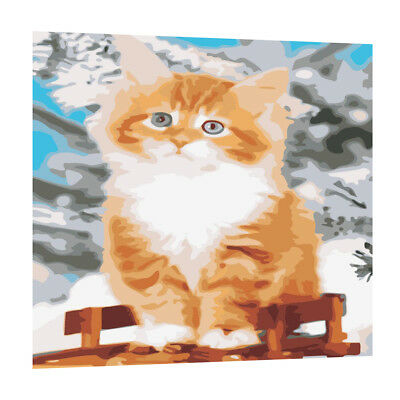 Modern Abstract Huge Wall Art Oil Painting On Canvas Brown Cat Hand-painted