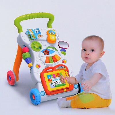 New 2 In 1 First Steps Baby Walker Sounds and Lights