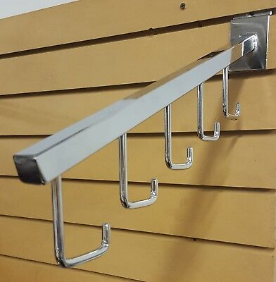 Lot of 10 NEW Chrome 5-Hook Cascading Clothes Hanger Arms for Slatwall Slat Wall