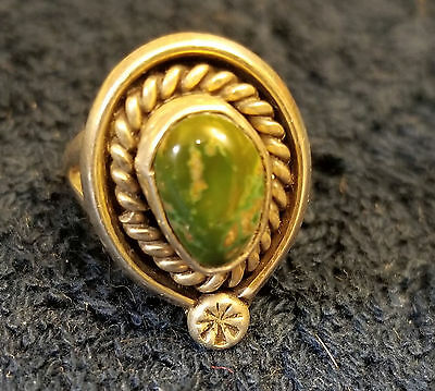 Vintage Sterling Silver Ring with Green Malachite? Stone (Size 5 or 6)