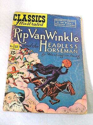 Classics Illustrated March 1944 #12 HRN 89 Rip Van Winkle & Headless Horseman