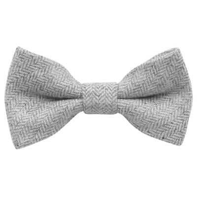 Children's Kids Boys Light Grey Herringbone Elasticated Wool Bow Tie. UK.