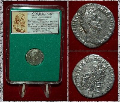 Ancient Roman Empire Coin Of COMMODUS Pietas With Child Reverse Silver Denarius