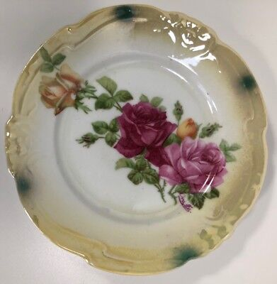 Vintage Small Bavaria/Germany Ceramic Plates With Colorful Hand Painted Roses