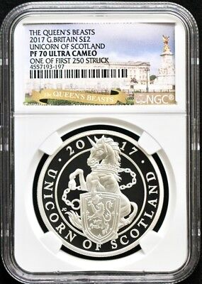 2017 GBritain Queens-Unicorn Of Scotland NGCPF70 1 Of First 250 Struck-EXCLUSIVE