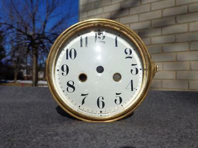 Antique Waterbury Porcelain Dial Beveled Convex Glass & Bezel Mantle Shelf Clock