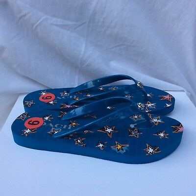 1fb54a72fc3 Coach Womens 5-6 Abbigail Star Rubber Denim Flip Flop Flops Sandals Blue  Stars