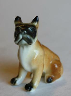 English Bulldog Terrier Figurine-Miniature Bone China Hand Painted-Japan-Label