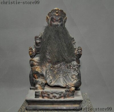 "9""Rare Folk Chinese Old Wood Hand carved Dragon Loong Mammon Buddha God Statue"