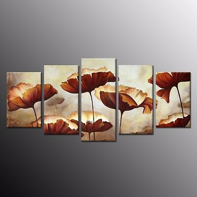 Giclee Canvas Prints Flower Oil Paintings Canvas Wall Art for Living Room 5pcs