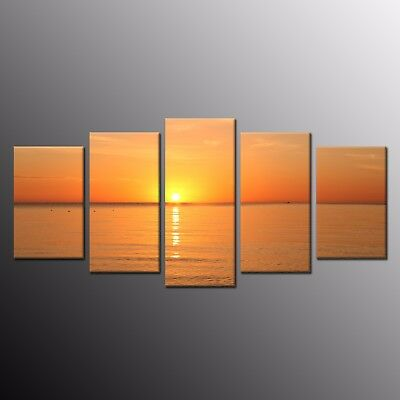 Modern Canvas Wall Art Sunset Sea view Waves Ocean Canvas Painting Picture 5pcs