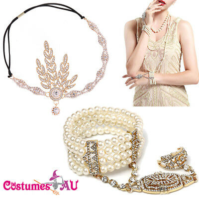Gold 1920s Headband + Bracelet Ring Set 20s Vintage Bridal Gatsby Party Costume