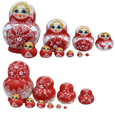 10pc Nesting Dolls Wooden Matryoshka Russian Dolls Hand Painted Home Decor Gifts