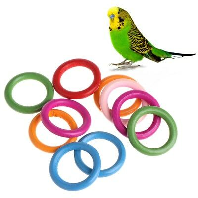 10Pcs Wood Bird Toy Parts Colored Wooden Round Rings Parrot Toy DIY Ornament