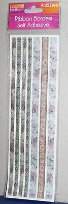 Passtime Crafts Acid Free Ribbon Borders Stickers Fairies Floral Patterns