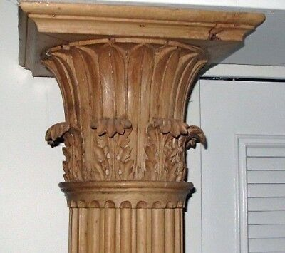 2 x Yellow Pine Corinthian Columns Carved by John Rehan Ireland 7ft Superb