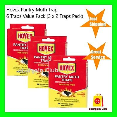3 x Hovex Pantry Moth Traps Pesticide Free Non-Toxic 2 Traps Pack  eBC