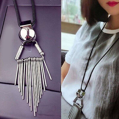 1Pc Women Fashion Tassel Pendant Long Chain Sweater Necklace Costume Jewelry