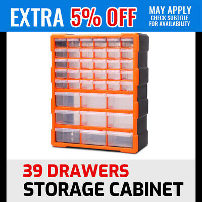 39 Drawers Storage Cabinet Tool Box Bin Chest Case Plastic Organiser Toolbox
