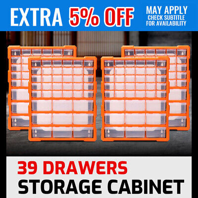 4x 39 Drawers Storage Cabinet Tool Box Bin Chest Case Plastic Organiser Toolbox