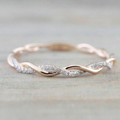 Fashion Women Noble 14K Solid Rose Gold Stack Twisted Ring Wedding Party Jewelry