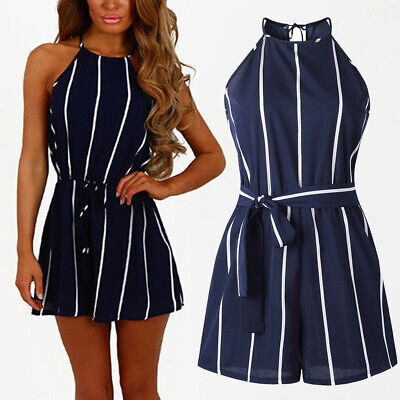 UK Women Casual Striped Sleeveless Shorts Mini Jumpsuit Clubwear Ladies Playsuit