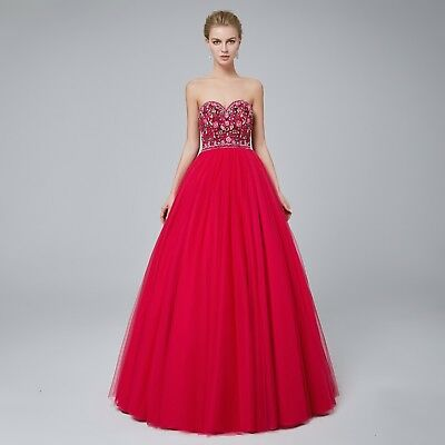 Fuchsia Tulle Embroidered Princess Ball Prom Gown Navy Blue Formal Pageant Gown