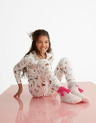 Joules Sleepwell Girls Jersey Pyjama Set in Sizes 1-12 Years in Skiing Dog