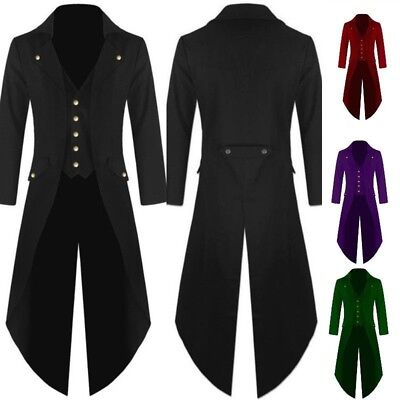 Men's Vintage Steampunk Tailcoat Jacket Gothic Victorian Frock Coats  UK