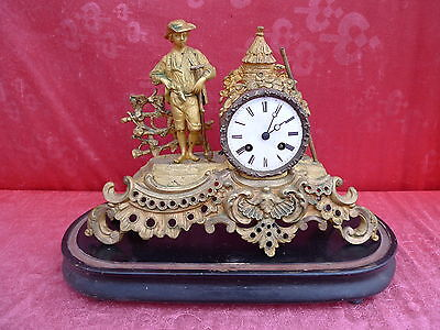 Beautiful, ANTIQUE FIREPLACE CLOCK __Pendule__ METAL __ with wooden base