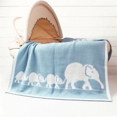 Super Soft Knitted Baby blanket or Toddler Bed in Elephant Wave Knitted