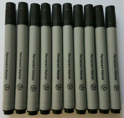 Permanent Marker Pen Black Bullet Tip box of 10 markers writes on most surfaces