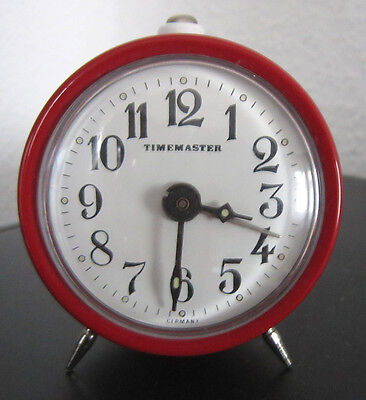 TIMEMASTER WECKER rot analog mechanisch Vintage Alarm Clock 1970er? funktioniert