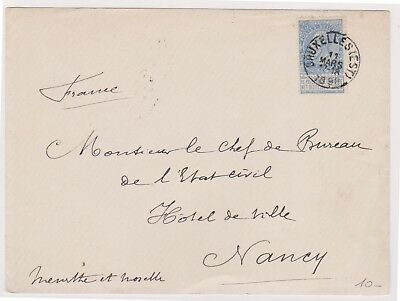 (K79-1) 1890 Belgium envelope from Brussels to Nancy used (A)
