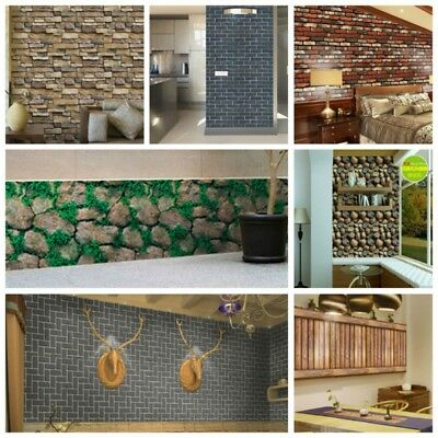 3D Wall Paper Rustic Brick Stone Effect Self-adhesive Wall Sticker Home Decor AU