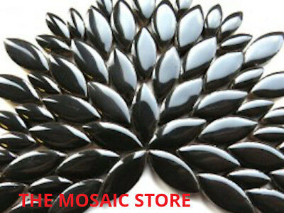 Black Ceramic Petals - Mosaic Art & Craft Supplies Tiles