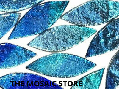 Large Blue Silverfoil Glass Petals - Mosaic Tiles Supplies Art Craft