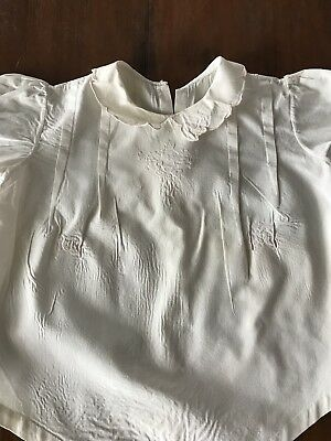 Vintage Baby Romper White Pink Embroidery (J6)