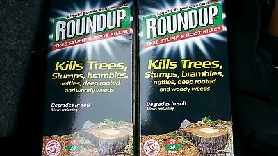 2 x 250ml  BOTTLE ROUNDUP TREESTUMP AND ROOT KILLER LIQUID SUPER CONCENTRATE