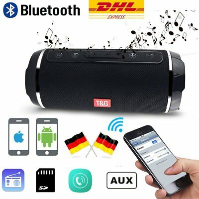 Tragbarer Bluethooth Lautsprecher AUX SD USB FM MP3 Stereo Speaker Soundbox DE