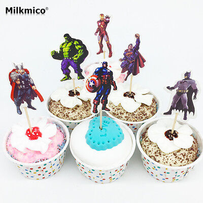 24 pcs Iron Man Captain America Thor AVENGERS CUPCAKE TOPPERS PARTY BIRTHDAY KID
